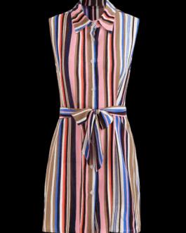 Striped Sleeveless Shirt Dress