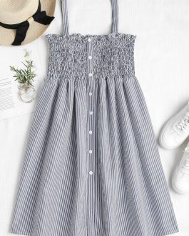 Striped Smocked A Line Pinafore Dress