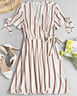 Striped Tie Sleeve Wrap Dresses