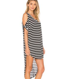 Striped V Neck Short Sleeve Cold Shoulder High Low T Shirt