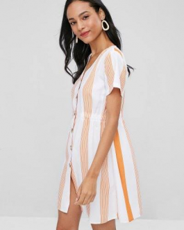 Stripes Button Up A Line Dress