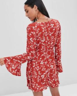 Surplice Floral Flare Sleeve Dress