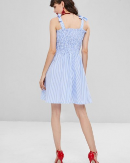 Tie Shoulders Shirred Striped Dress