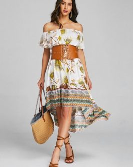 Tribal Asymmetrical Off Shoulder Midi Dresses