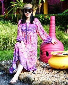 Tribe Style V Neck Bohemian Floral Print Long Sleeve Boho Dress