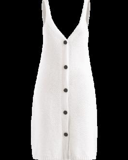 V Neck Button Up Sweater Dress