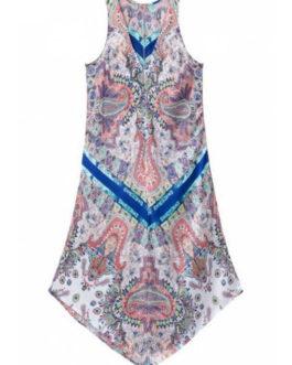 V-Neck Sleeveless Asymmetric Dresses