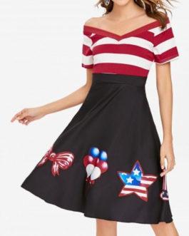 Vintage High Waisted Stripe Dresses