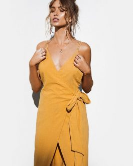 Wrap V Neck Backless High Low Slip Dresses