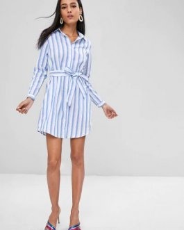 Belted Stripes Shirt Dress