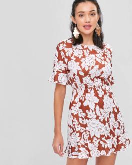 Floral Open Back Mini Tea Dress