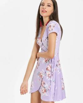 Surplice Plunge Flower Pattern Dress