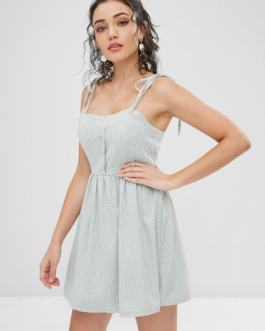 Tie Shoulder Gingham Cami Dress