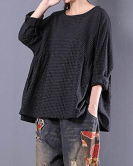 Vintage Long Sleeve Crewneck Check Loose Baggy Blouse