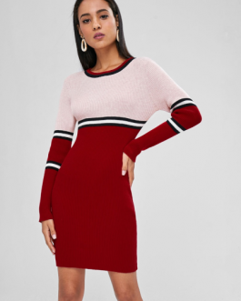 Bodyson Stripes Panel Sweater Dress