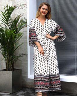 Boho Style V Neck Print Vintage Dresses