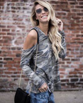 Camo Round Neck Long Sleeve Cold Shoulder T Shirt