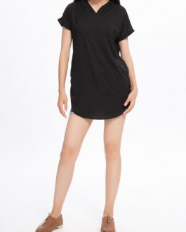 Casual Loose Pocket Hood Short Sleeve T-Shirt