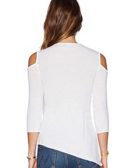 Designed Neckline Cut Out Slim Fit Casual T Shirt