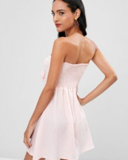 Double Knot Tie Strapless Dress