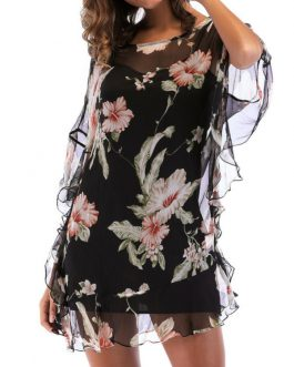 Elegant Floral Batting Sleeve Chiffon Blouse