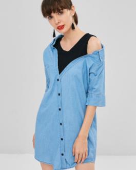 Fake Two Piece Chambray Shirt Dress