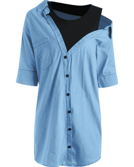 Fake Two Piece Chambray Shirt Dress