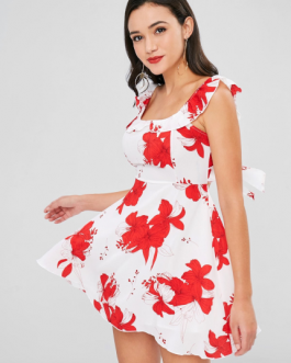 Floral Ruffle Open Back Dress