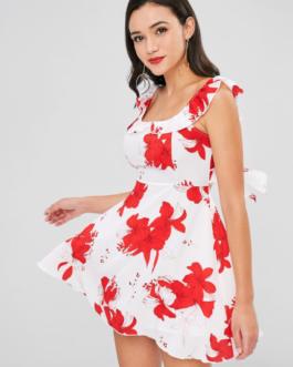 Floral Ruffle Open Back Dress