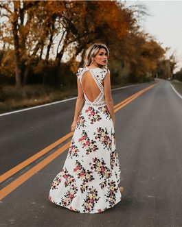 Flower Print Lace Boho Maxi Dress