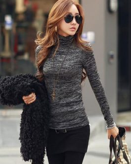 High Collar Long Sleeve Comfy T Shirt