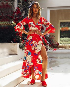 Hot Floral Printed V Neck Boho Maxi Dress