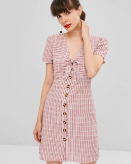Knot Striped Button Up Shirt Dress