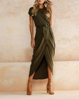 Lady Outfit High Split Casual Long Maxi Dress