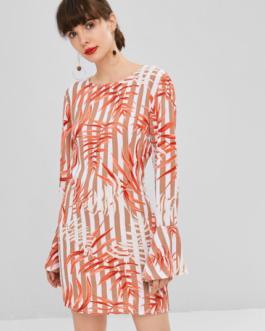 Leaves Print Shift Bell Sleeve Dress