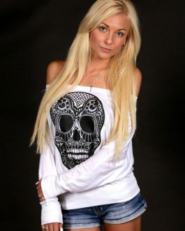 Long Sleeve Off The Shoulder Skull Cotton T-shirt