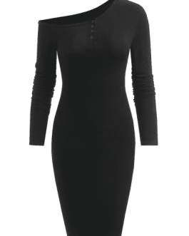 Long Sleeve Ribbed One Shoulder Bodycon Dress