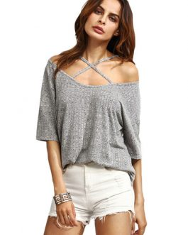 Off The Shoulder Cross Front Half Sleeve T Shirt