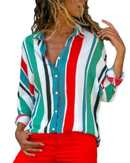 Office Ladies Shirts 2018 Casual Striped Blouse Shirt