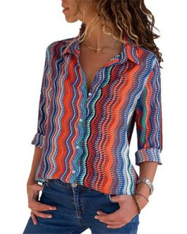 Casual Long Sleeve Turn Down Collar Striped Blouse Shirt