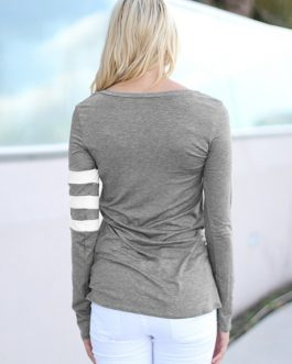 Round Neck Long Sleeve Two Tone Casual T Shirt