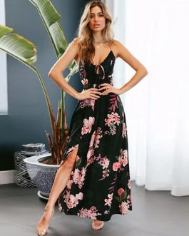 Sexy Lace Up V Neck Backless Boho Dress