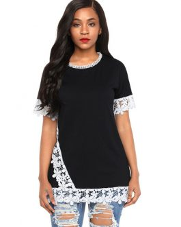 Short Sleeve Lace Patchwork Two Tone T Shirt