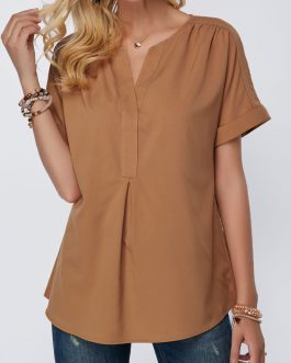 Split Neck Dark Khaki Short Sleeve Blouse