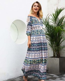 Summer Floral Print Slash Neck Boho Maxi Dress