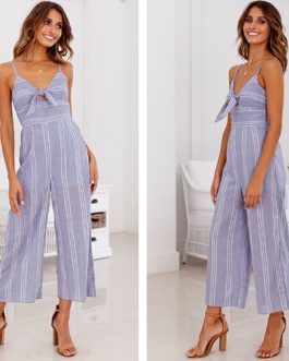 Summer Knot Tie Up Printed Striped Jumpsuits