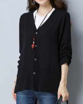 Vintage V-Neck Button Pocket Long Sleeve Cardigan Shirt