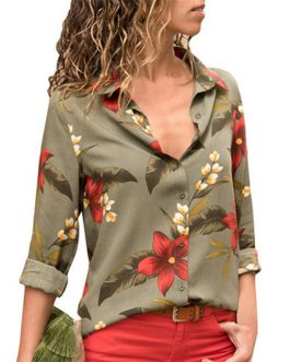 Women Blouses 2018 Floral Print Long Sleeve
