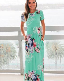 Women Bohemia Floral Print Summer Dress