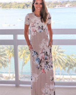 Women Bohemia Floral Print Summer Dress
